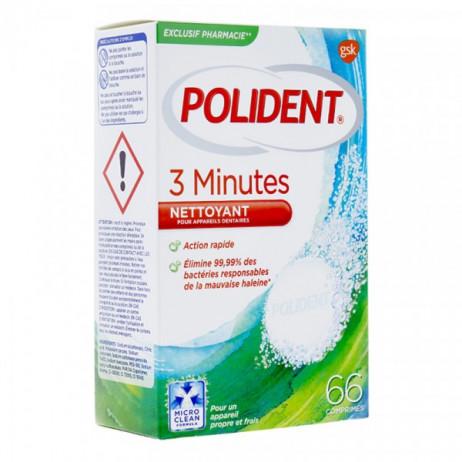 POLIDENT 3 minutes nettoyant 66 comprimés