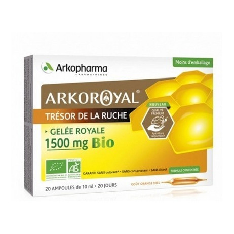 ARKOPHARMA Gelée royale Bio 1500mg orange miel 20 ampoules x 15ml