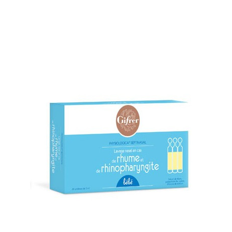 GIFRER Lavage nasal bébé pour rhume et rhinopharyngite x20 unidoses